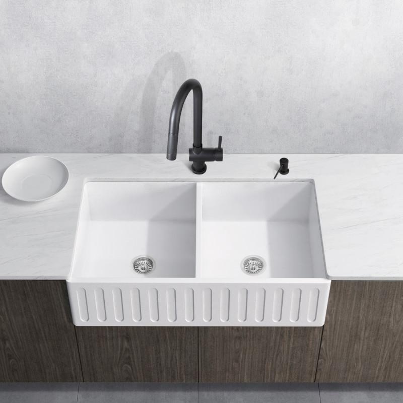 double bowl farmhouse sink set with
