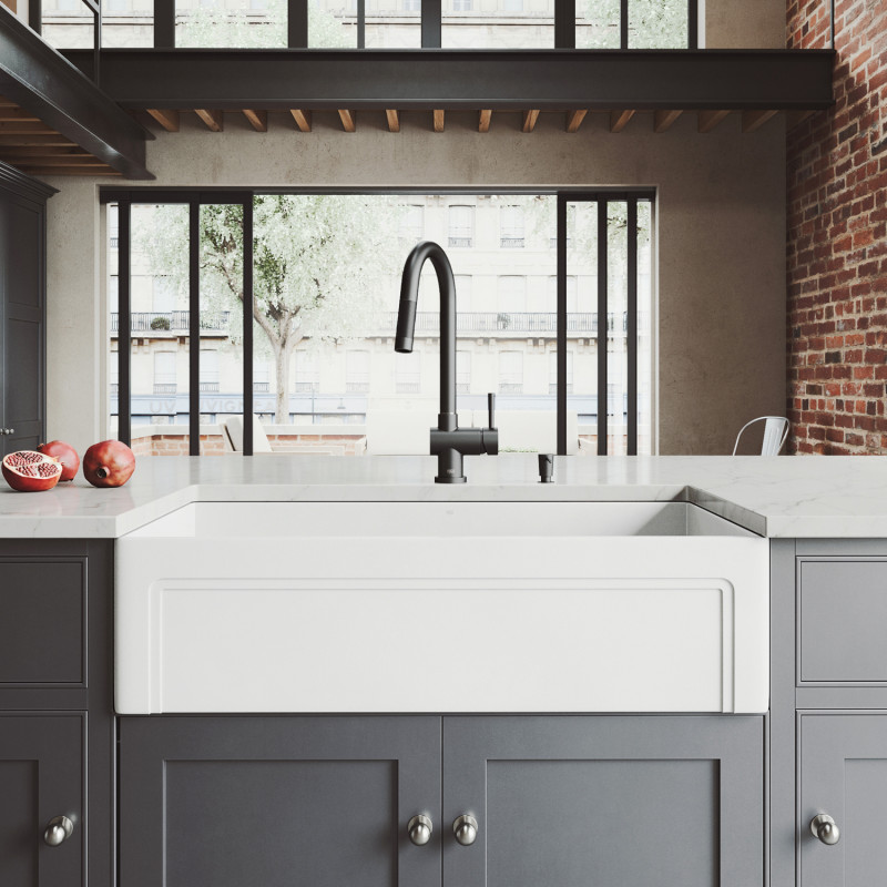 matte stone farmhouse kitchen sink