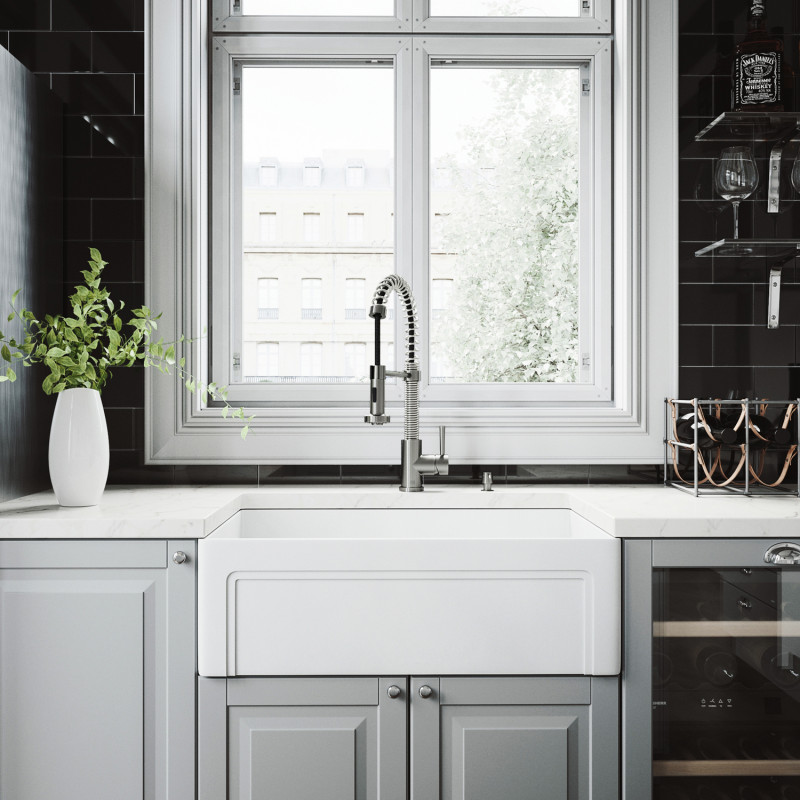 vigo 30 casement front matte stone farmhouse kitchen sink on kitchens with farmhouse sinks id=38030