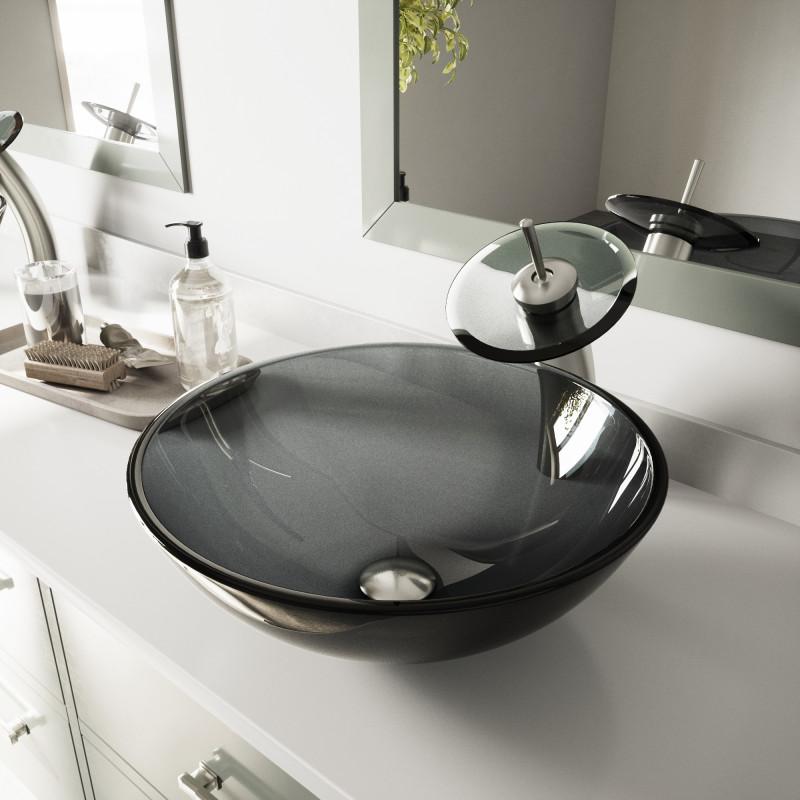 sheer black glass vessel bathroom sink