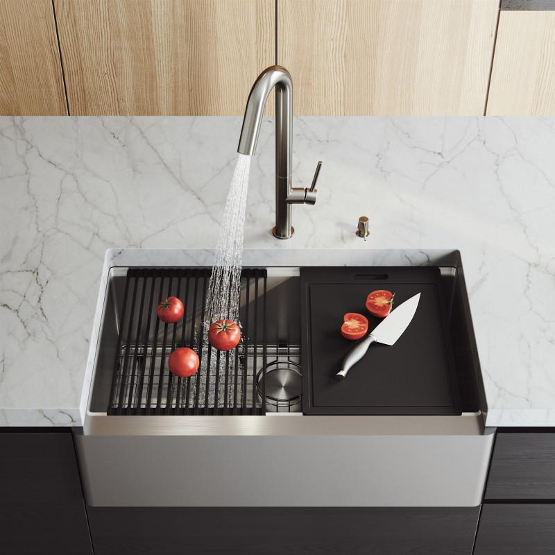 stainless steel farmhouse kitchen sink