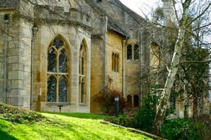 A bay window at Leckhampton Court