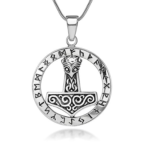 the hammer of thor mjölnir viking symbol pendant necklace whit