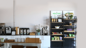 kitchen with snacks made by oh my green