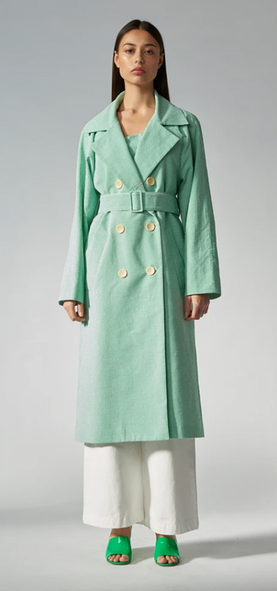 Classic trench - emerald gingham by Arnsdorf