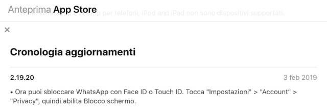 WhatsApp per iPhone: bloccare le chat con Touch ID e Face ID 1