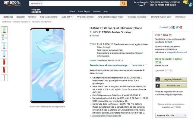 Huawei P30 Pro: Amazon svela per errore il nuovo device 1