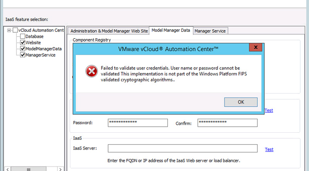 vRA: Failed to validate user credentials because of FIPS