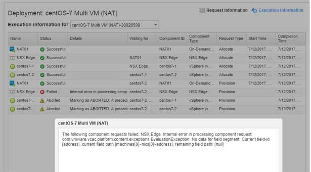 vRA/NSX error – The following component requests failed: NSX