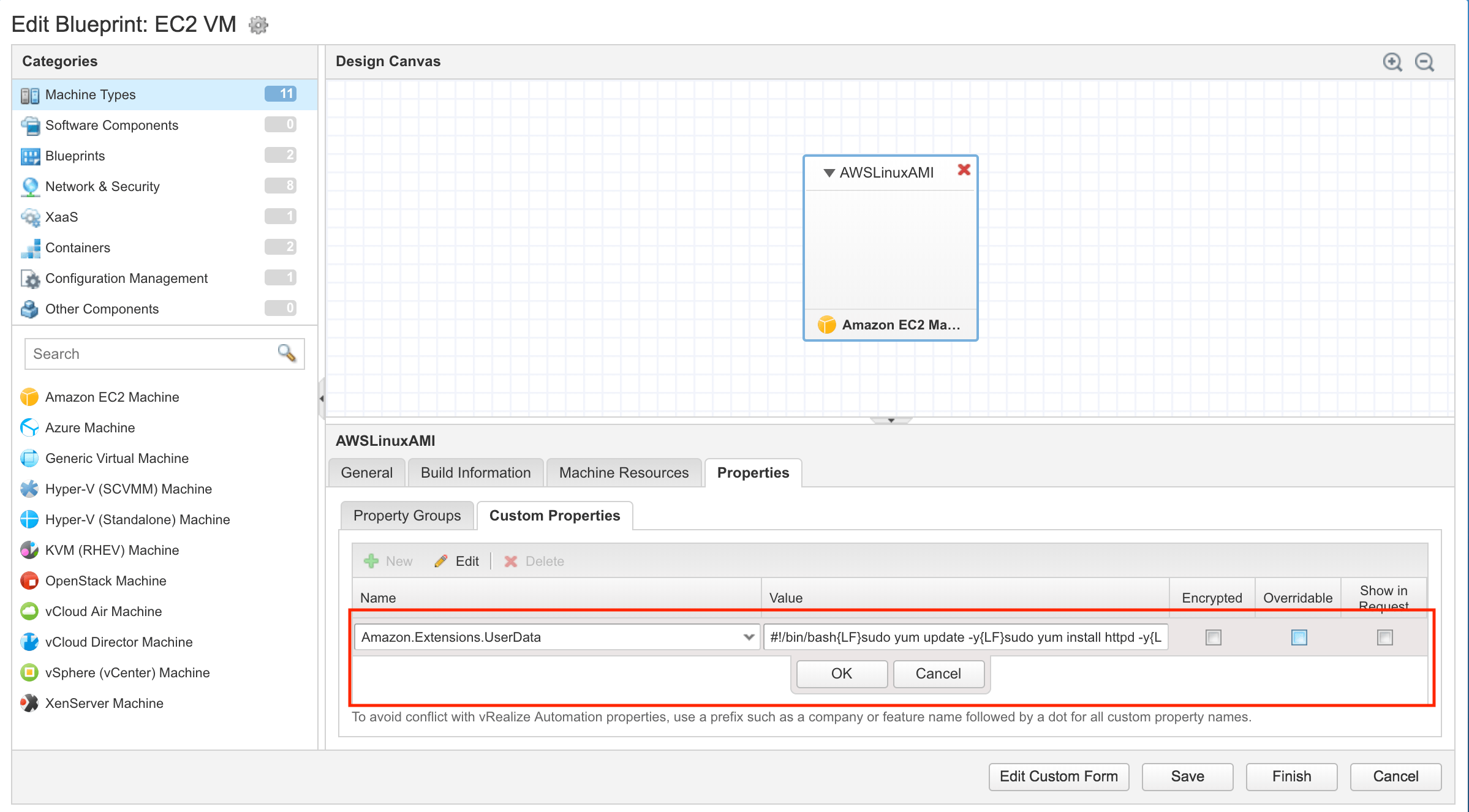 A first look at the new vRealize Automation 7.4 AWS user data feature