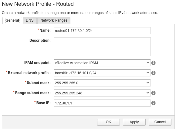 How to configure an NSX routed network profile in vRealize Automation