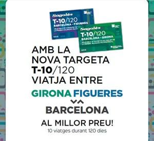 T-10/120 Figueres-Barcelona i Girona- Barcelona