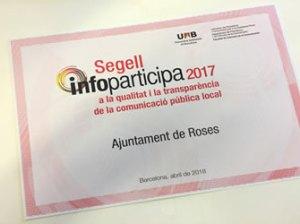 Ajuntament de Roses rep el Segell Infoparticipa