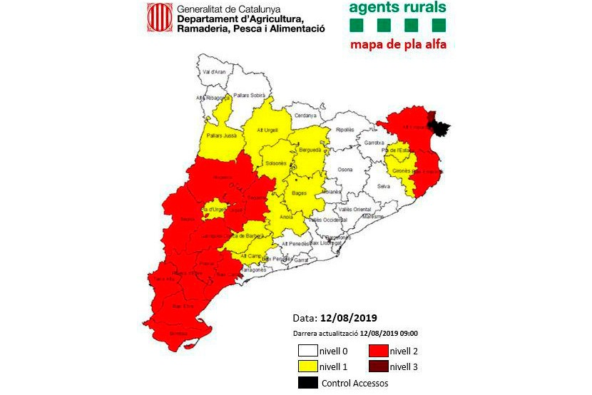 L'alerta pel risc d'incendi es manté a l'Alt Empordà