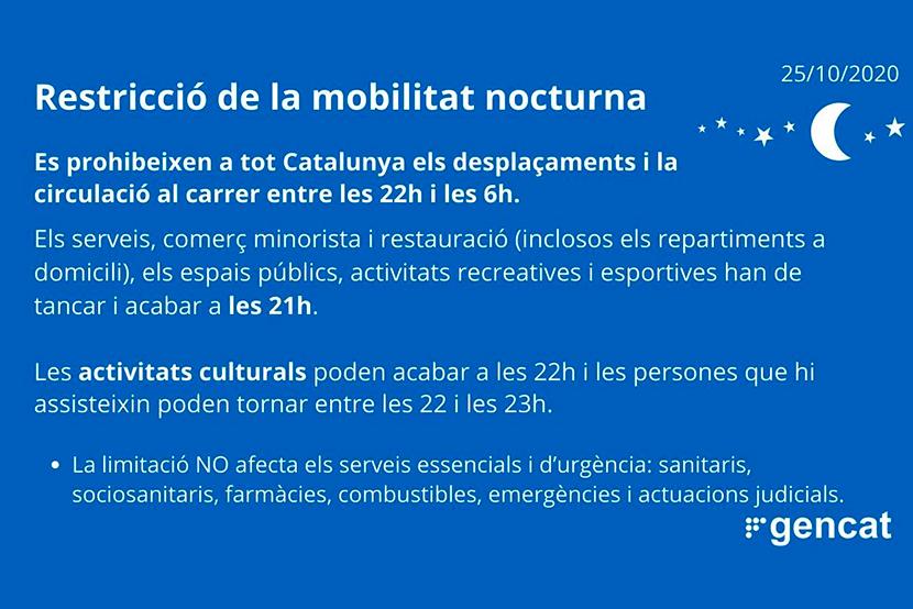 Restricció de la mobilitat nocturna a Catalunya