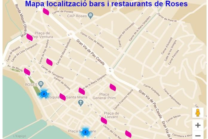 Mapa de bars i restaurants de Roses amb servei a domicili i per emportar