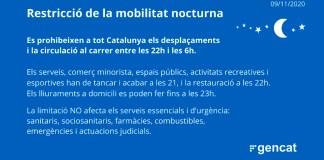 Es prorroga la restricció de la mobilitat nocturna a Catalunya