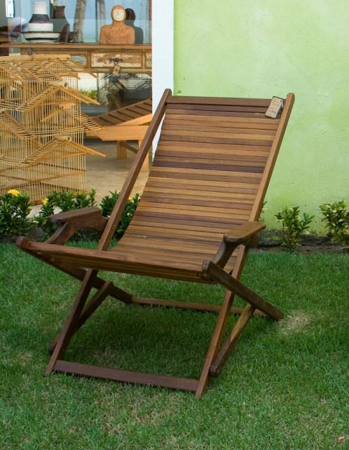 Cadeira espreguiçadeira em madeira sucupira
