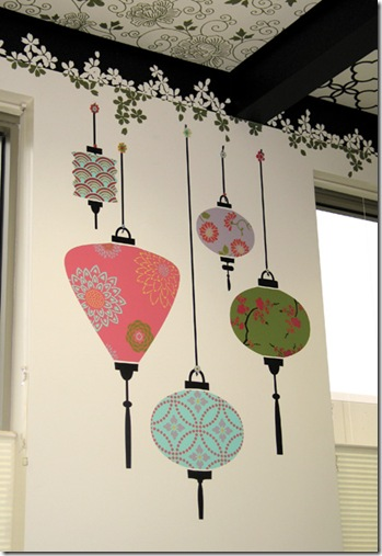 Lanternas japonesas em artesanato com stencil