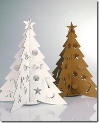 Árvores de natal feitas de papelão kraft