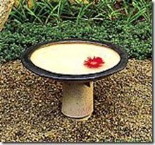 Banho do passaro de ceramica