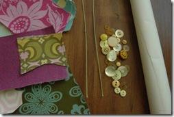 Material para a flor de tecido costurada