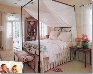 Um mosquiteiro para a cama dossel