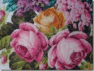 Detalhe do gobelin de rosas de Sandra Bessi