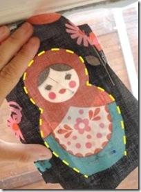 Modelo matrioskas para móbile de tecido