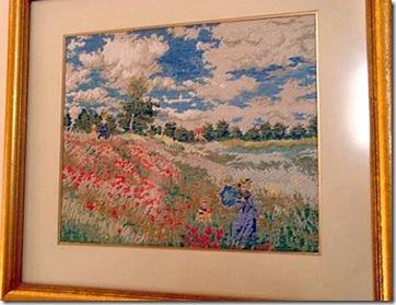 Monet retratado no bordado de Sandra Bessi