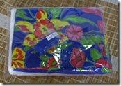 Kit de chita azul com flores rosa