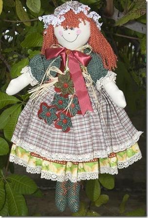 Boneca de pano de Leila Reis presente do sorteio de aniversário