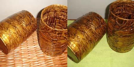 Latas recicladas com colagem de Lindalria
