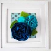 Quadro com flores de tecido para a decoração