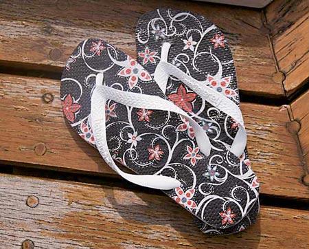 Chinelos personalizados com decoupagem, artesanato de moda