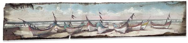 Marinha sobre tábua de madeira usada, pintura de Ronaldo Hammes