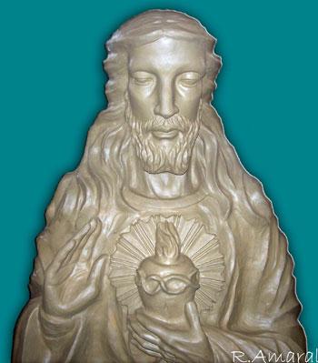 Escultura em argila do Sagrado Coração de Jesus, de Amaral