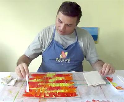 Pintando a gravura para a técnica da monotipia