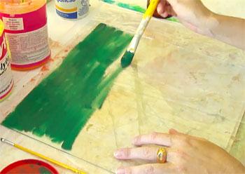 Pinte a superfície de trabalho, no caso uma lâmina de vidro