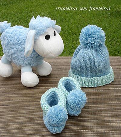 Receitas de tricô, onde encontrar: gorro e sapatinho azul