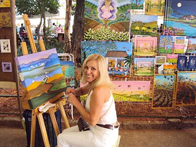 Emma Bianchini participando da feira de artes da Benedito Calixto