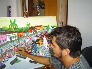 Adriano Dias de Araújo, pintor naif, em seu atelier