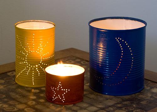 Lanternas decoradas feitas com reciclagem de latas