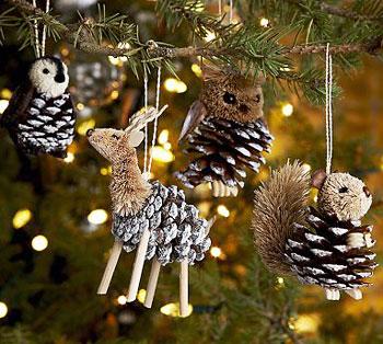 Pinhas em formato de bichinhos para a árvore de natal