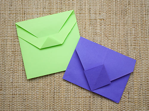 Envelopes decorados feitos com artesanato de origami
