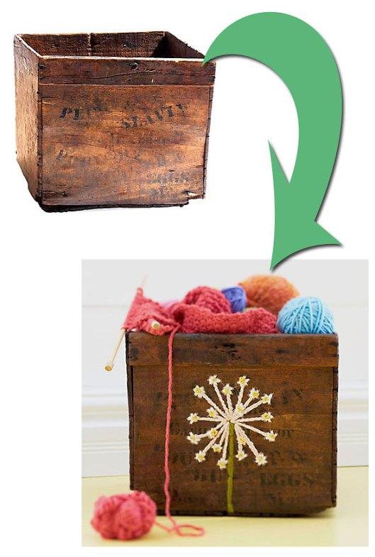 Vejam o antes e o depois de uma caixa de madeira bordada