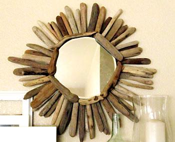 Moldura de espelho com galhos secos tamanho pequeno