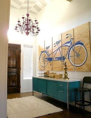 Painel com bicicleta ara decorar o hall de entrada