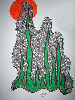 Desenho a nanquim na tela de papel