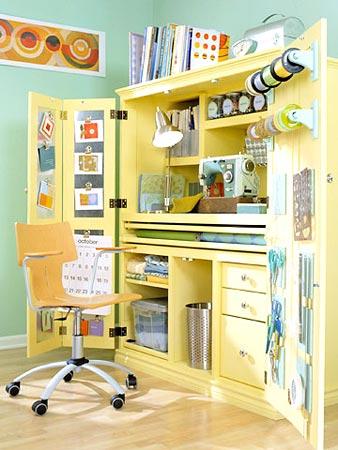 Armário com atelier embutido que se auto organiza